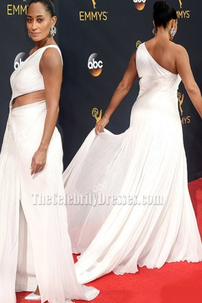 Tracee Ellis Ross White One-shoulder Chiffon Evening Dress Emmys Red Carpet 2016 TCD6810