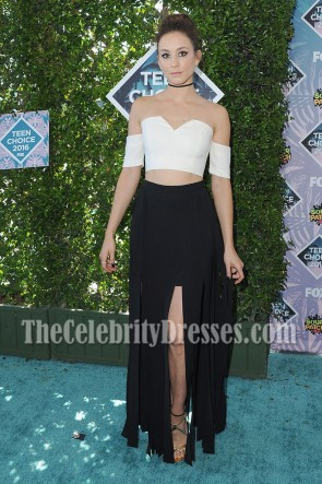 Troian Bellisario Black And White Off-the-shoulder Prom Gown Teen Choice Awards 2016 TCD7049