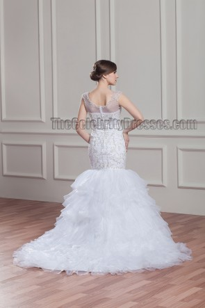 Trumpet/Mermaid Embroidered Sweep/Brush Train Wedding Dress
