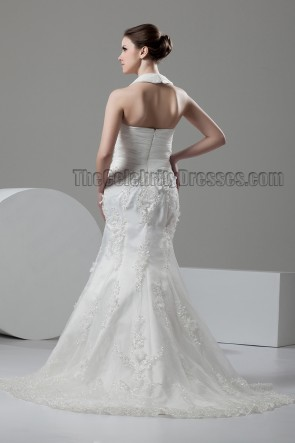 Trumpet/Mermaid Halter Sweep/Brush Train Wedding Dress