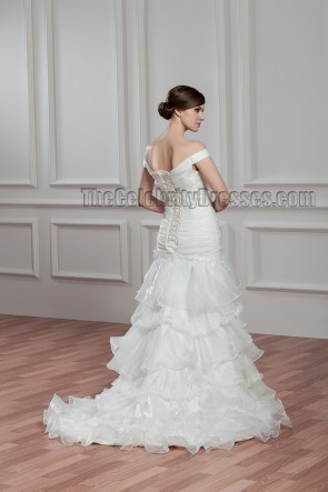 Trumpet/Mermaid Off-the-Shoulder Lace Up Wedding Dress