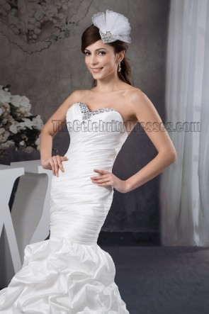 Trumpet /Mermaid Strapless Sweetheart Beaded Ruffles Wedding Dress