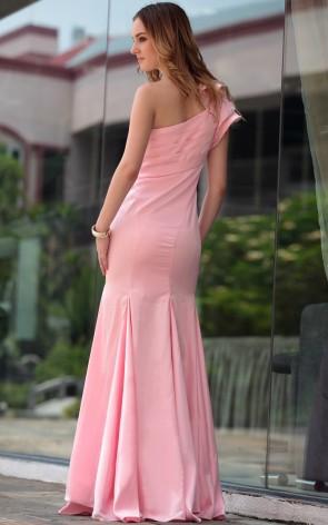 Trumpet/Mermaid Pink One Shoulder Formal Dresses Evening Gowns