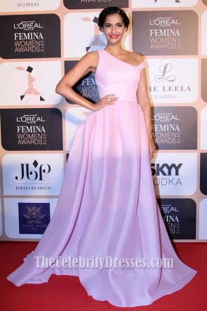 Sonam Kapoor Pink Long Evening Dress Ball Gown L'Oréal Paris Femina Women Awards 2017