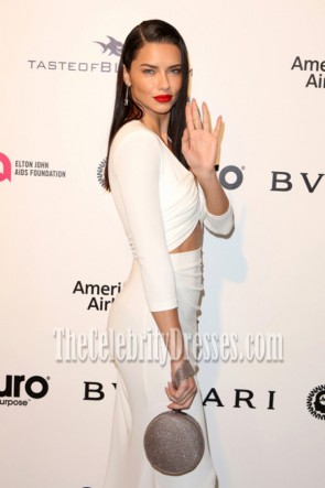 Adriana Lima White Long Sleeves Cutout Evening Gown 2017 Elton John AIDS Foundation Oscar-viewing Party TCD7179