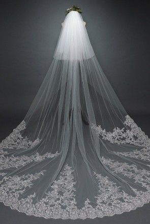 Two-tier Applique Sequins Chapel Bridal Veils