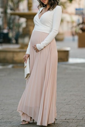 Two-tone Pleated Deep V-neck Long Sleeves Maxi Maternity Dress (1)