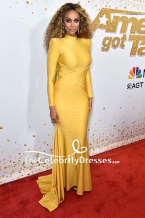 Tyra Banks Yellow Mermaid Evening Dress With Long Sleeves America's Got Talent season 13 live show