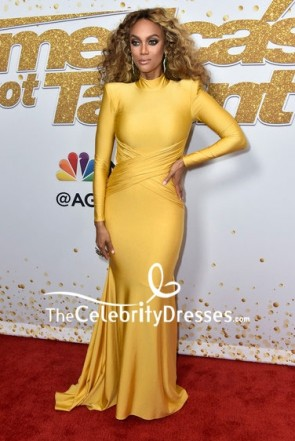 Tyra Banks Yellow Mermaid Evening Dress With Long Sleeves America's Got Talent season 13 live show