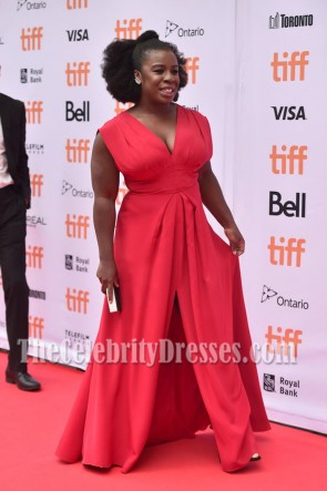 Uzo Aduba Bright Red Deep V-neck Evening Dress Premiere of 'American Pastoral' TCD7074