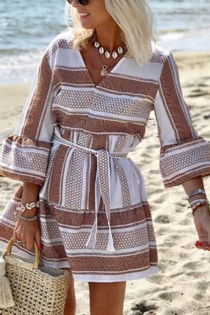 V-neck Printed Lace-up Dress