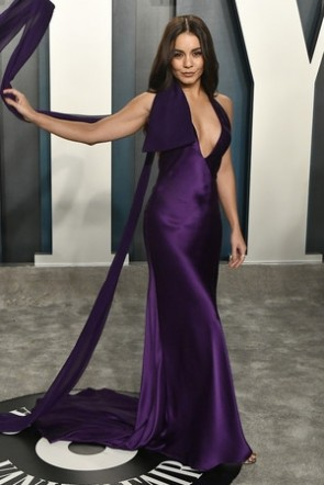 Vanessa Hudgens Regency Plunging Prom Dress 2020 Vanity Fair Oscar