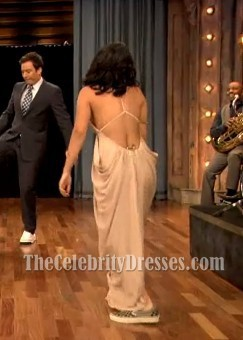 Vanessa Hudgens Sexy Backless Prom Dress Fallon interview 2012 Gown
