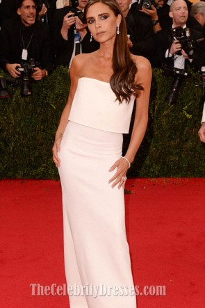 Victoria Beckham White Strapless Prom Gown Met Ball 2014 Red Carpet Evening Dress 6