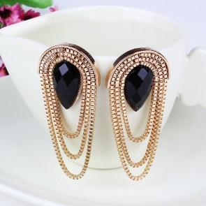 Vintage Sector Tassel Gem Drop Earrings for Women TCDE0059