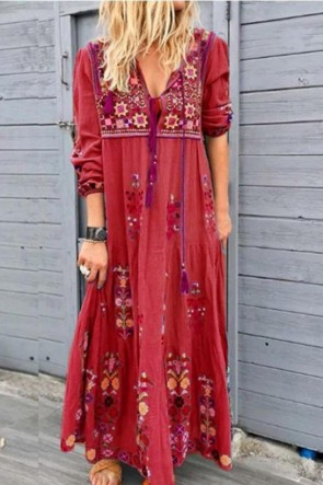 BOHO Vintage V-neck Tassel Embroidery A-line Dress