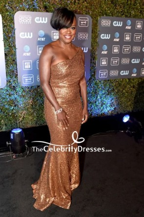 Viola Davis Gold Sequined One-shoulder Mermaid Dress 2019 Critics' Choice Awards