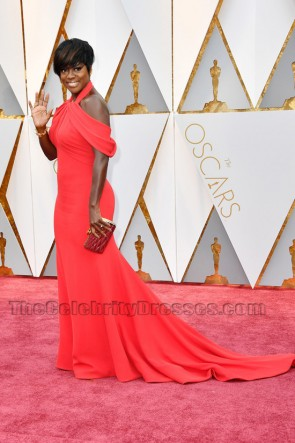 Viola Davis 2017 Oscars Red Formal Dress Red Carpet Celebrity Gowns TCD7153