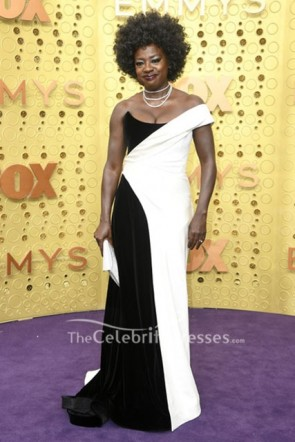 Viola Davis Off Shoulder Two-tone Dress 2019 Emmy Awards