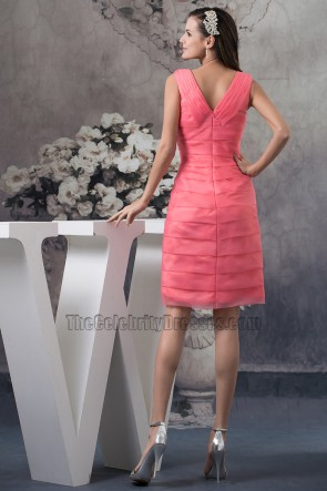 Watermelon Short V-Neck Cocktail Party Graduation Dresses