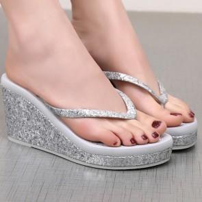 Wedge Flip Flops Decor With Sequins