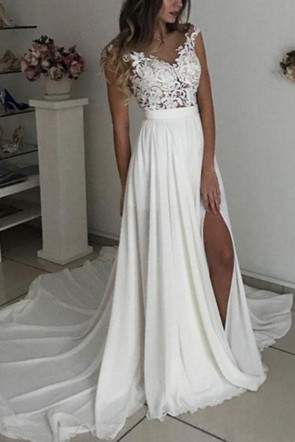 White Applique Thigh-high Slit Prom Dress