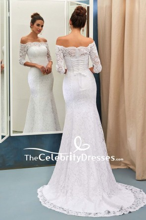 White Lace Off-the-shoulder Mermaid Dress For Wedding With Sleeves