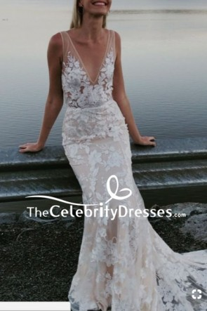 White Mermaid Deep V-neck Wedding Dress
