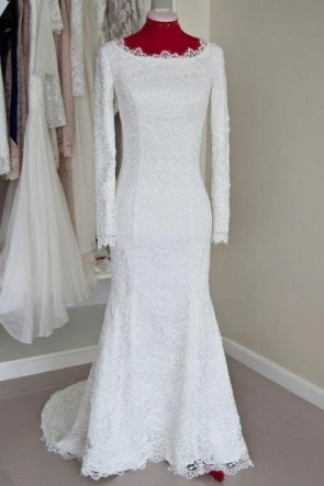 White Mermaid Lace Wedding Dress With Long Sleeves