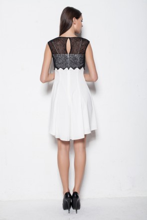 White And Black High Low Short Party Cocktail Dresses TCDBF001
