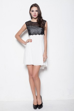 White And Black High Low Short Party Cocktail Dresses
