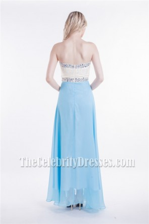 White And Blue Strapless Sweetheart Beaded Prom Dress Evening Gowns