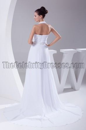 White Halter Beaded Formal Gown Prom Dresses