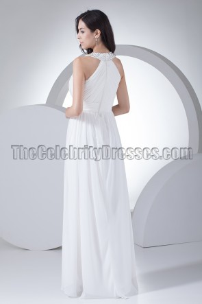 White Chiffon Prom Gown Evening Formal Dresses