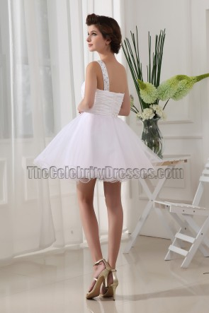 Gorgeous White Mini One Shoulder Party Homecoming Dresses