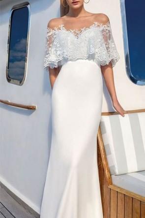 White Long Lace Mermaid Prom Dress