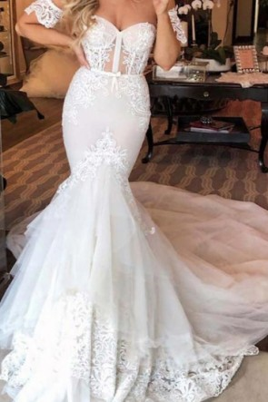 White Off Shoulder Mermaid Wedding Dress