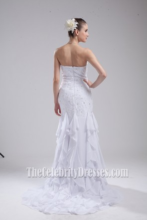 White Strapless Beaded Evening Gown Wedding Dresses