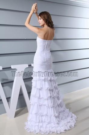 White Strapless Beaded Mermaid Evening Formal Prom Dresses