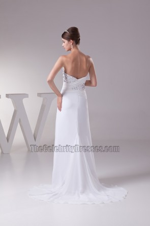 White Strapless Sweetheart Chiffon Prom Gown Evening Dresses