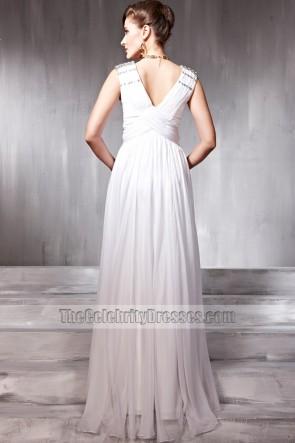 White Sleeveless Beaded Prom Gown Evening Formal Dresses