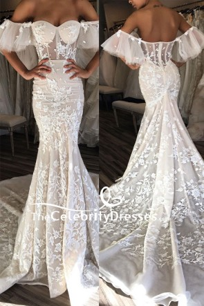 Ivory Mermaid Off-the-shoulder Lace Wedding Dress