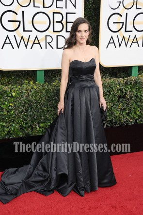 Winona Ryder Black Strapless Ball Gown Golden Globes 2017 Red Carpet Dress TCD7115