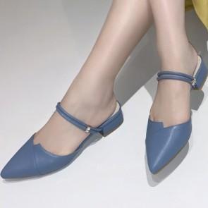 Women's Faux Leather Closed-toe Low Heel Slide