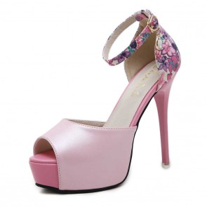 Women's Floral Fuchsia Platform Stiletto Heels Wedding Shoes With Ankle Strap