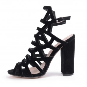 Women's Sexy Black Fish Mouth Suede Hollow Buckle Casual Sandals
