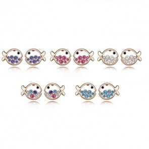 Women's Accessories Austrian Crystal Fish Princess Stud Earrings TCDE0076