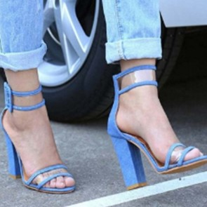 Women's Ankle Straps Chunky Heels Sandals With Buckle