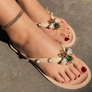 Women's Jelly Thong Flip Flops Decor With Imitation Pearl