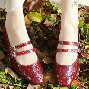 Women's Patent Leather Chunky Heel Pumps Closed Toe Shoes With Buckle